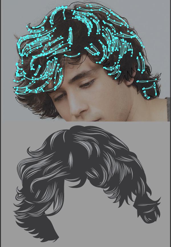 The initial hair strokes