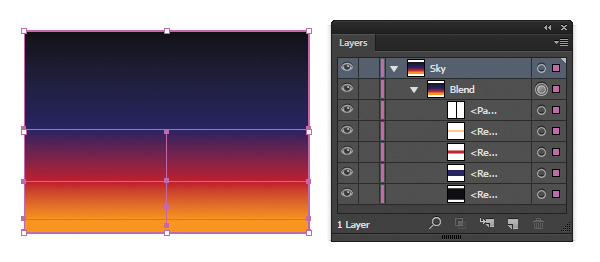 create a Blend with the four rectangles to create a gradient