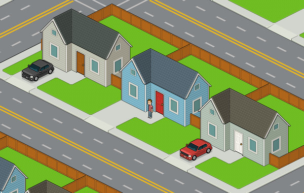 Isometric Pixel Art Neighborhood Block in Adobe Photoshop