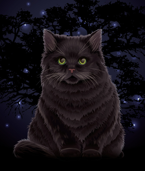 Create a Fluffy Halloween Cat using the Paintbrush Tool and Gradients