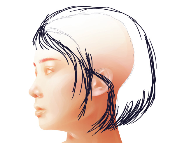 Creating a sketch of the hair