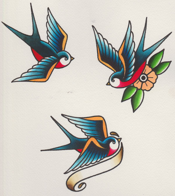 Finished image of vintage tattoo style swallows