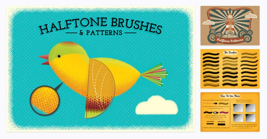 Halftone Brushes and Patterns for Illustrator
