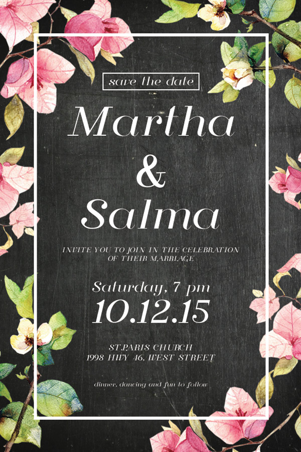 floral invite in black