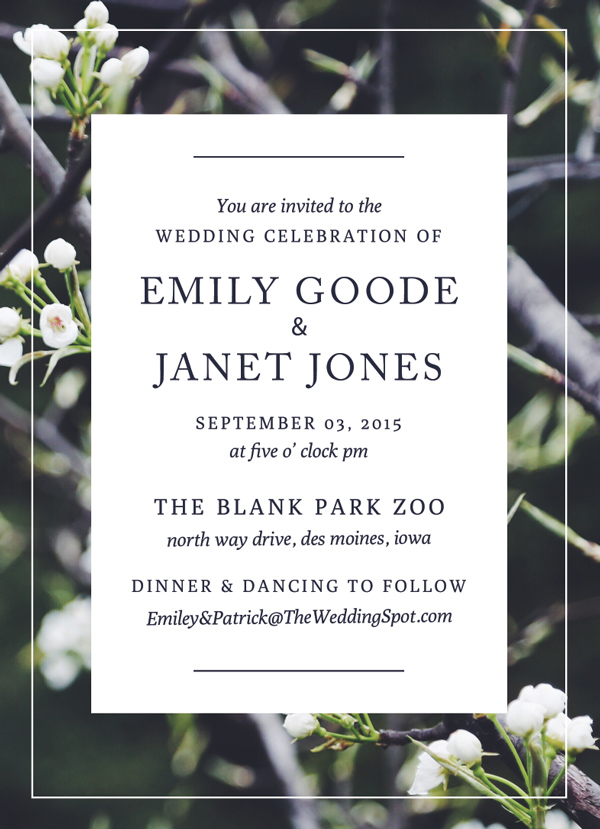 Photographic Wedding Invitation