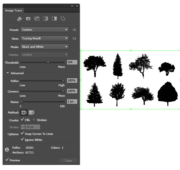 Image trace the trees