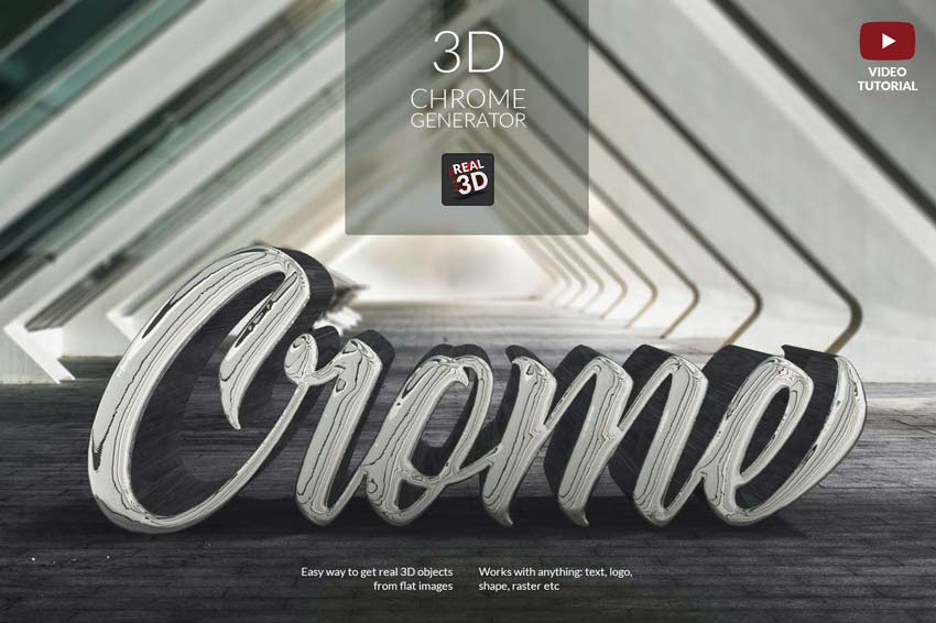 Chrome Text Effect Photoshop Generator from Envato Elements