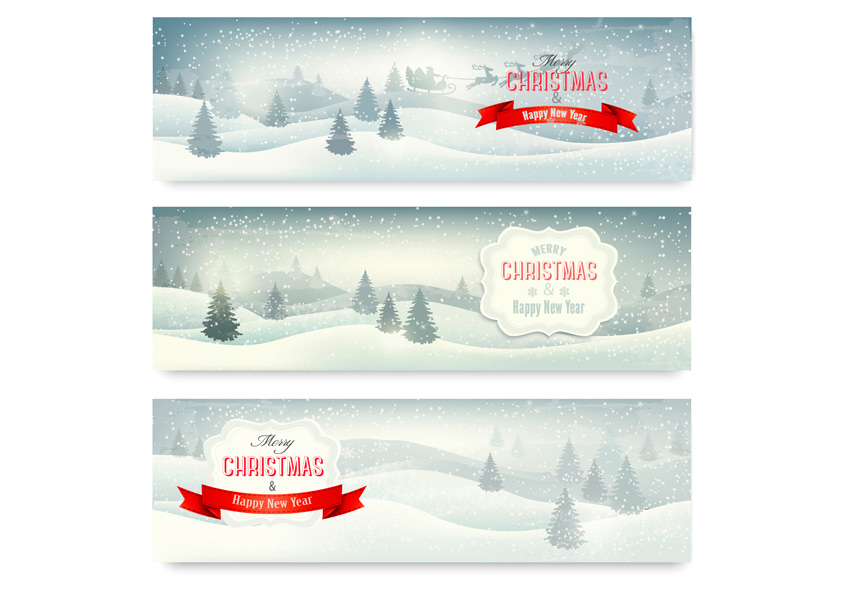 Three Christmas Landscape Banners