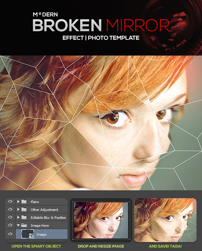Modern Broken Mirror Effect Photo Template