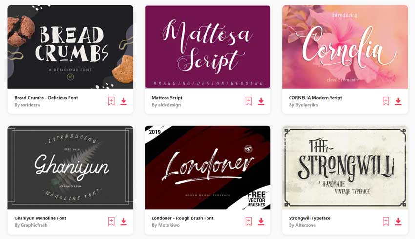 Popular Fonts on Envato Elements