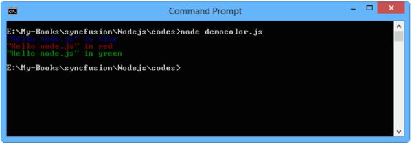 Program output for Nodejs application with cli-color module