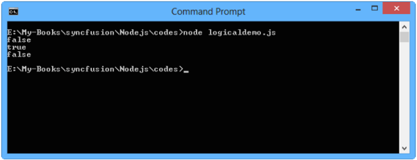 The program output for logical operation in Nodejs