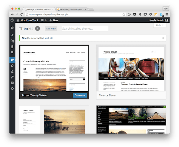Activated WordPress Theme