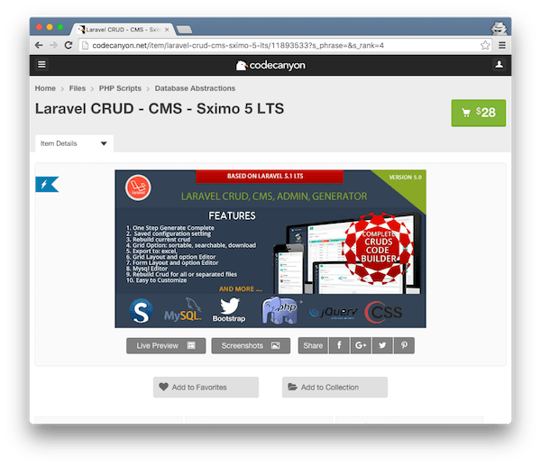 Sximo CMS Generator For Laravel 51 LTS