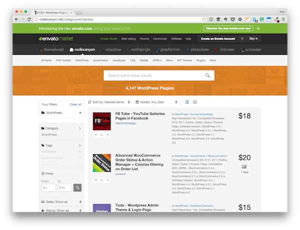 Envato Market where plenty of WordPress plugins are available