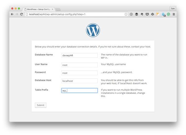 The WordPress Configuration Settings