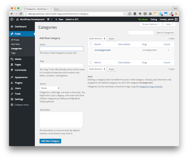 The WordPress Categories Interface