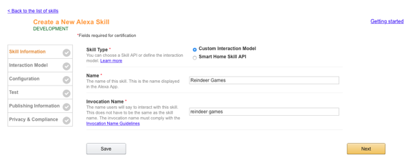 Create a New Alexa Skill Configuration Screen