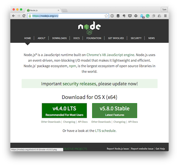 The homepage for Nodejs a runtime engine for writing JavaScript on the server
