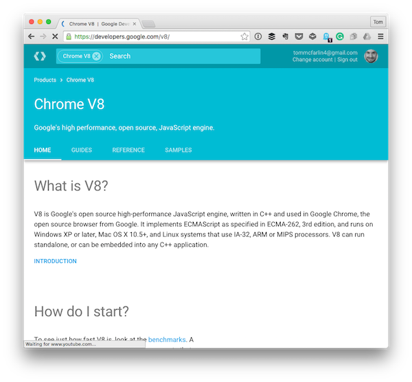 The landing page for Chrome V8 Googles JavaScript Engine