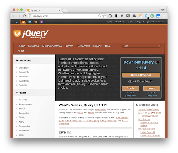 The jQuery UI Homepage