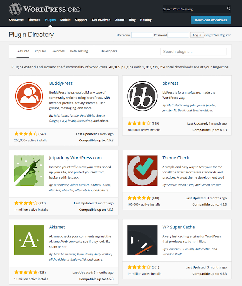 The homepage for the WordPress Plugin Repository