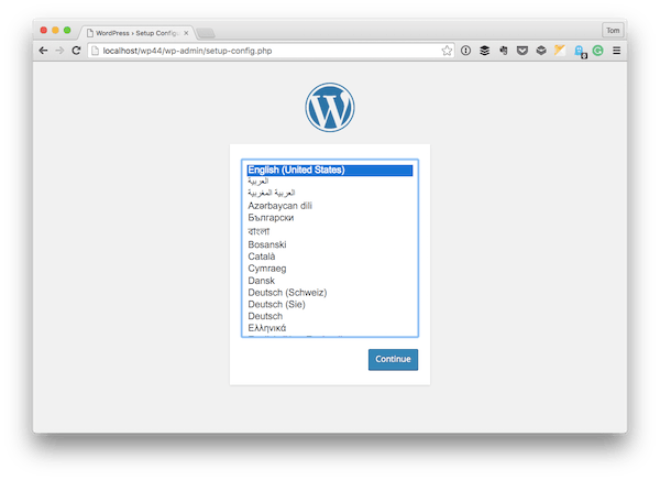 The WordPress Installation screen