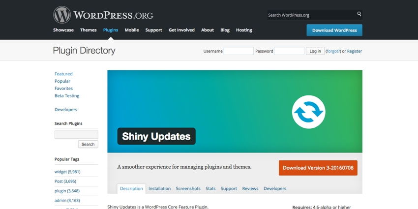The Shiny Updates Plugin