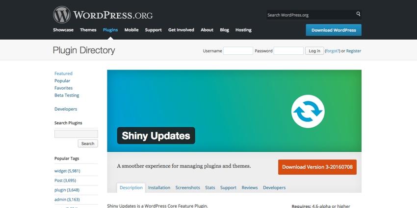 The Shiny Updates Plugin