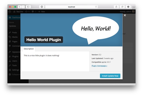 Hello World Plugin popup