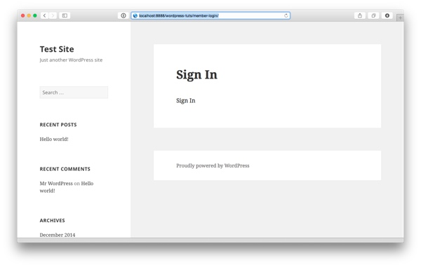 The new Sign In page still empty