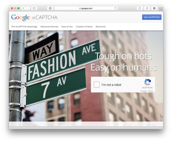 Google reCAPTCHA web site