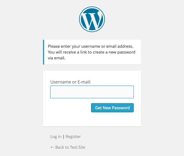 WordPress Forgot Your Password screen