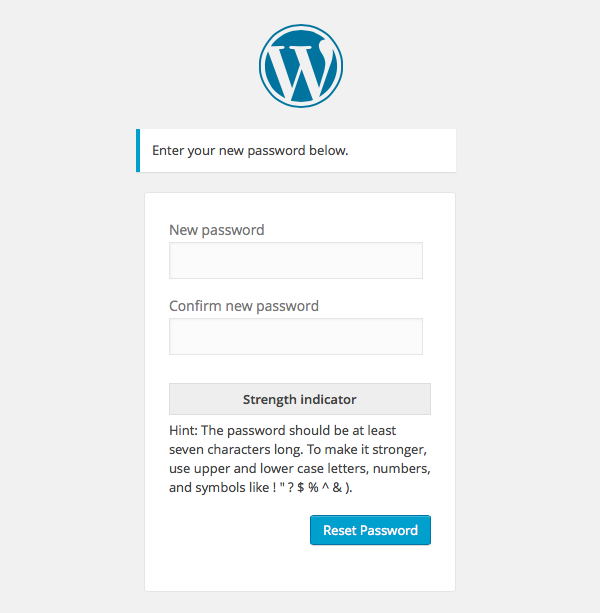WordPress Reset Password screen