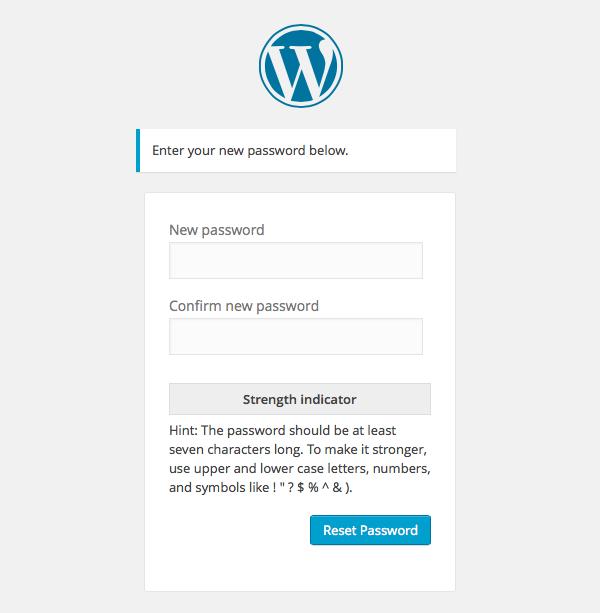 WordPress Reset Password screen