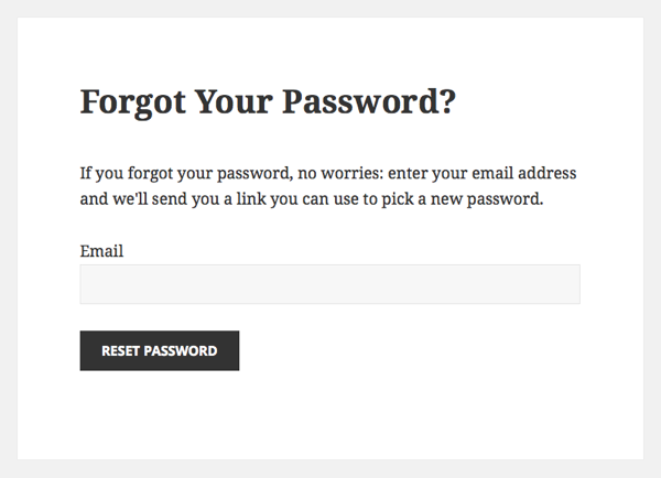Custom Forgot Your Password screen