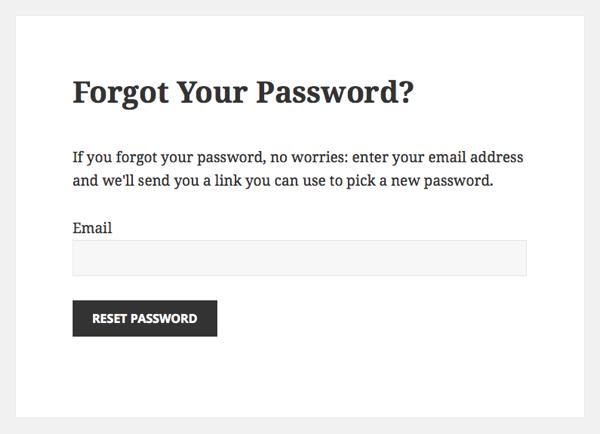 Custom Forgot Your Password screen
