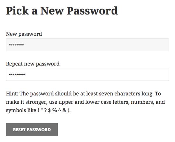 Custom Reset Password screen