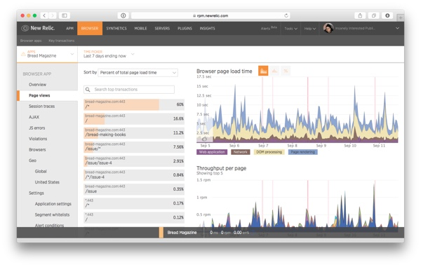 The Page Views page in New Relic Browser