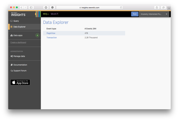 Select the event type to browse in the Data Explorer