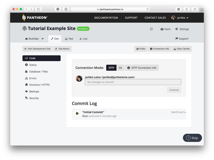 Your new WordPress site on the Pantheon dashboard