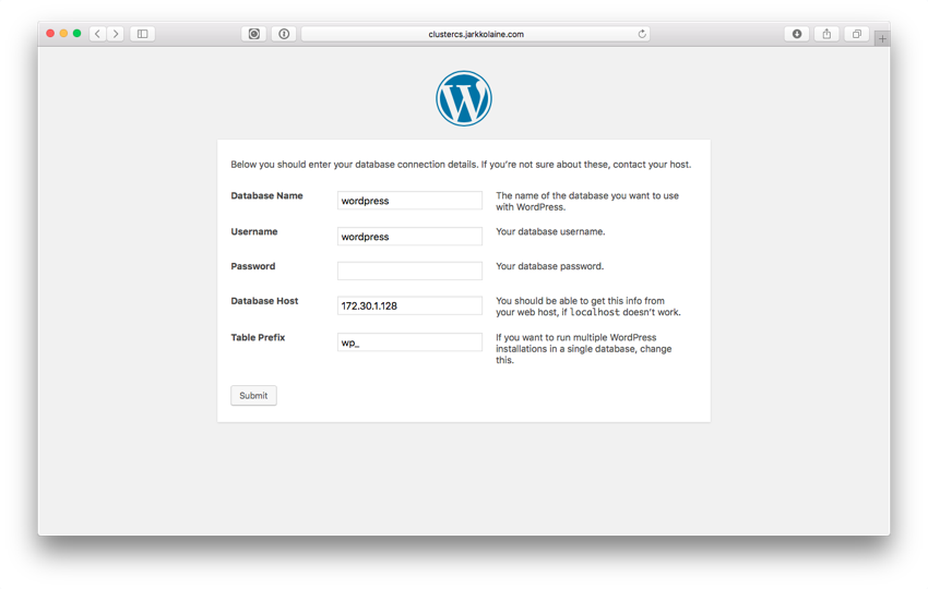 WordPress Database Setup