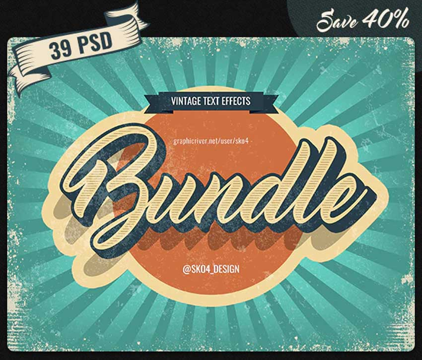 Vintage Bundle - 39 Text Effects