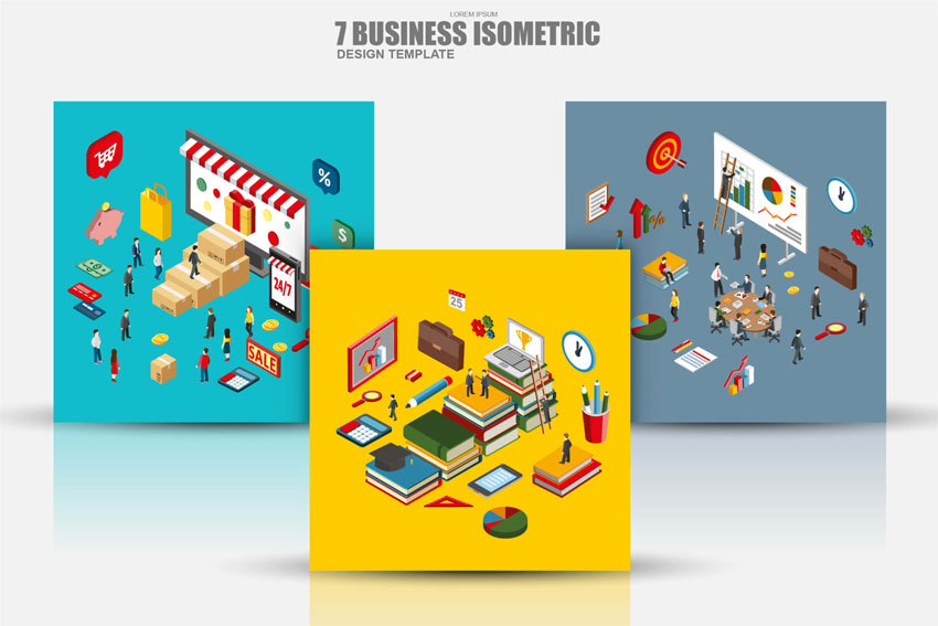 Flat 3D Isometric Business Concept