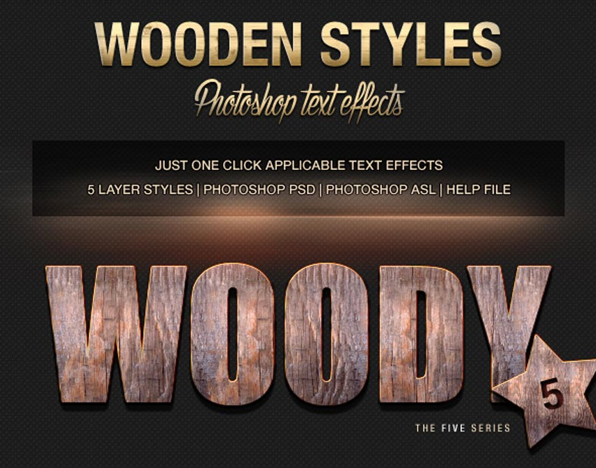 Various Text Effects Vol3 - Wooden Styles