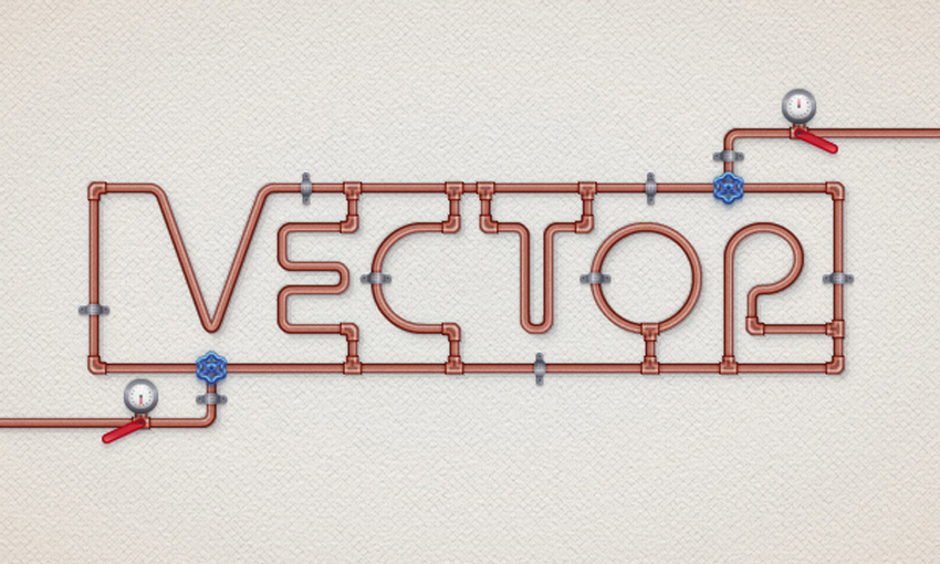 Copper Pipe Text Effect Illustrator Tutorial