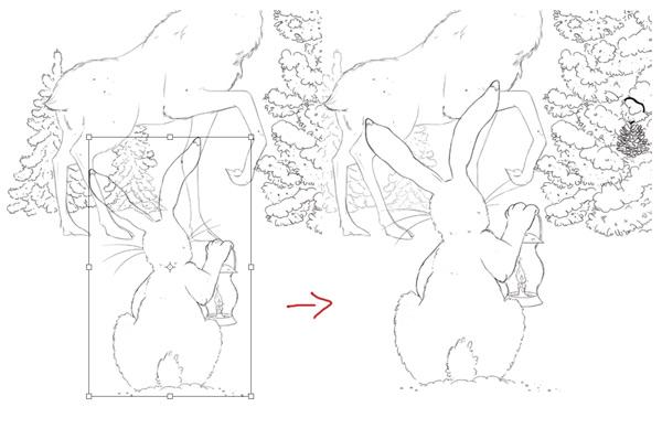 Free Transform the Enlarge Rabbit Layer