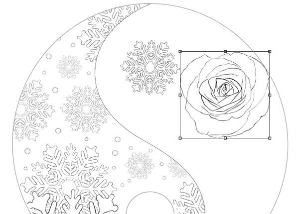 Place the First Rose with the Free Transform Tool