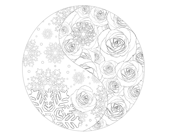 The Yin Yang with the Completed Rose Side
