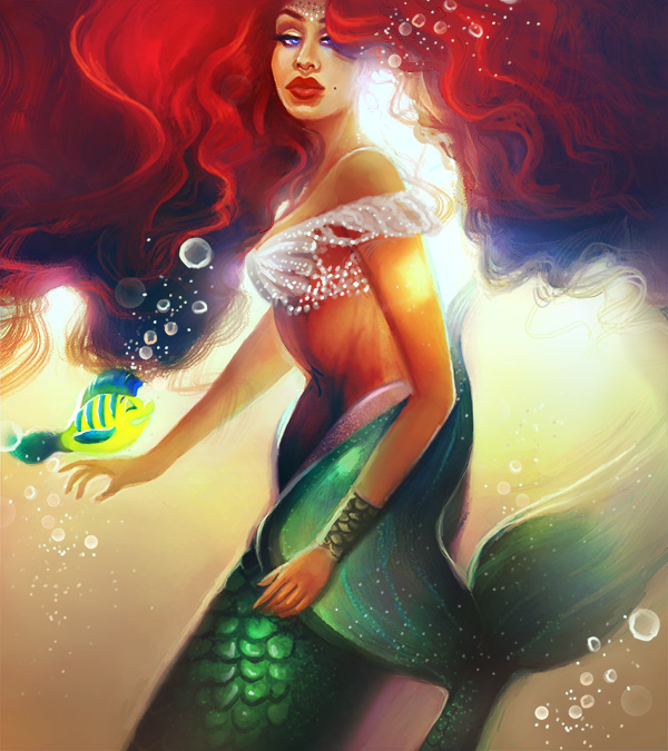 Create a Little Mermaid Inspired Ariel Painting in Photoshop by Melody Nieves